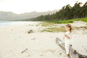 little girl on windy beach