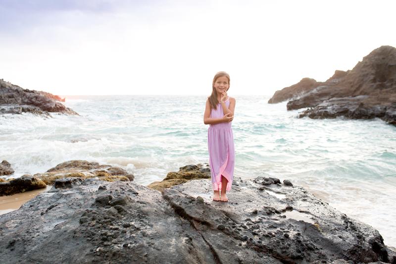 Purple dress little girl sunrise